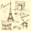 France, paris, eiffel - hand drawn collection — Stock Vector #14145562