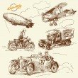 Old times vehicles-handmade drawing — Stock Vector