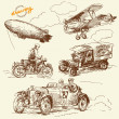 Old times vehicles-handmade drawing — Stock vektor