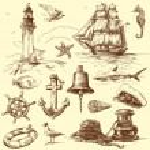 Hand drawn nautical elements — Stock Vector