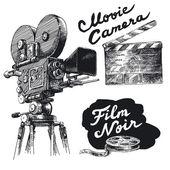 Film aparat fotograficzny oryginał ręcznie rysowane kolekcja — Wektor stockowy