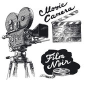 Movie camera-original hand drawn collection — Stock vektor