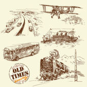 Vecchi veicoli - collezione disegnata a mano — Vettoriale Stock