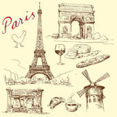 France, paris, eiffel - hand drawn collection — Stock Vector
