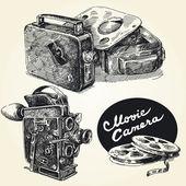 Vintage movie cameras-original hand drawn collection — Stock Vector