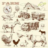 Boerderij collectie-handgemaakte tekening — Stockvector