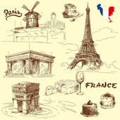 France-original hand drawn collection — Stock Vector