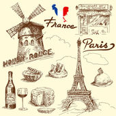 France-original hand drawn collection — Stockvector