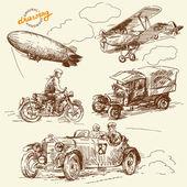 Viejos tiempos dibujo hecho a mano-vehículos — Vector de stock