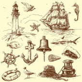 Hand drawn nautical elements — Cтоковый вектор