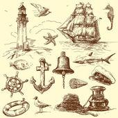 éléments nautiques dessinés à la main — Vecteur