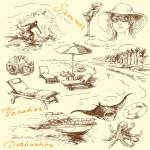 Summer vacation - original hand drawn collection — Stock Vector