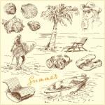 Yaz set - orijinal el çizilen illüstrasyon — Stok Vektör