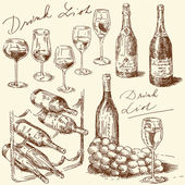 Hand drawn wine collection — Stock Vector