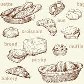 Bäckerei nahtlose muster — Stockvektor