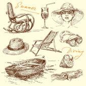 Summer holiday - original hand drawn set — Stock Vector