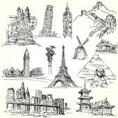 путешествовать по миру - рука нарисованные коллекции — Cтоковый вектор
