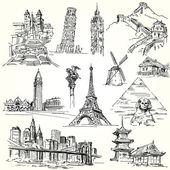 Travel the world - hand drawn collection — Cтоковый вектор