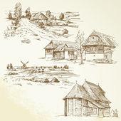 Paisagem rural, agricultura - entrega a coleção desenhada — Vetorial Stock