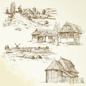 Rural landscape, agriculture - hand drawn collection — Cтоковый вектор