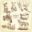 Antique toys-original hand drawn collection — Stock Vector #14395551