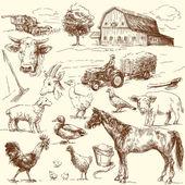 Colección de granja original dibujado a mano — Vector de stock