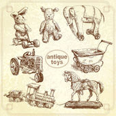 Antique toys-original hand drawn collection — Stock Vector