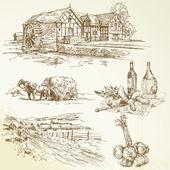 Ancien moulin à eau, paysage rural, agriculture — Vecteur