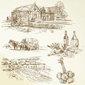 農村景観、農業、古い水車小屋 — ストックベクタ