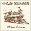 Hand drawn steam locomotive - Stock Vector