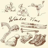 Set invernale disegnata a mano — Vettoriale Stock