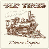 Hand drawn steam locomotive — Vector de stock