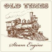 Locomotora de vapor dibujada a mano — Vector de stock