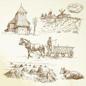 Paysage rural, agriculture, fenaison — Vecteur