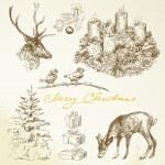 Hand drawn Christmas card with advent wreath — Stock Vector