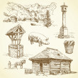 图库矢量图片: Rural landscape, agriculture - hand drawn collection