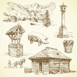 Vecteur: Rural landscape, agriculture - hand drawn collection