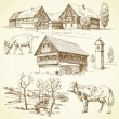 Farm, rural landscape, agriculture - hand drawn collection — Stock Vector