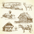 Rural landscape, agriculture - hand drawn collection — Stock Vector