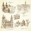 Royalty-Free Stock Vector Image: Travel over the europe - hand drawn collection
