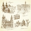 Travel over the europe - hand drawn collection - Stock Vector
