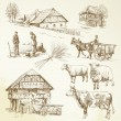 图库矢量图片: Hand drawn set - rural landscape, village, farm animals
