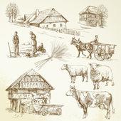 Hand drawn set - rural landscape, village, farm animals — Stock Vector