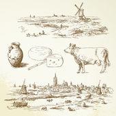 Holland windmill - hand drawn illustration — Stock Vector