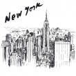 New York - hand drawn illustration - Stok Vektr