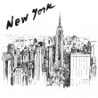 New York - hand drawn illustration - Stok Vektör