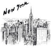 New York - hand drawn illustration — Stock Vector