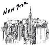 New York - hand drawn illustration — Stock Vector