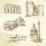Rome - hand drawn set — Stock Vector