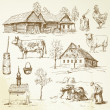 Farm, rural houses - hand drawn collection — Imagens vectoriais em stock